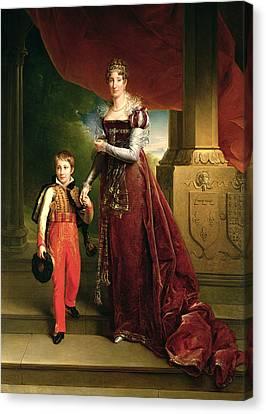 Marie Amelie De Bourbon 1782-1866 Duchess Of Orleans And Her Son, Prince Ferdinand 1810-42 Duke Canvas Print