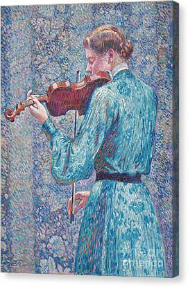 Marie Anne Weber Playing The Violin  Canvas Print by Theo van Rysselberghe
