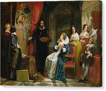 Marie De Medici 1573-1642 Visiting The Studio Of Rubens, 1839 Oil On Canvas Canvas Print by Claude Jacquand