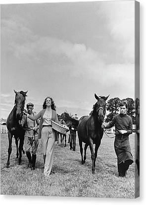 Marie-helene De Rothschild With Horses And Stable Canvas Print by Henry Clarke
