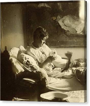Marie Jordan Dressed Sitting In Bed With A Cup In Her Hands Canvas Print