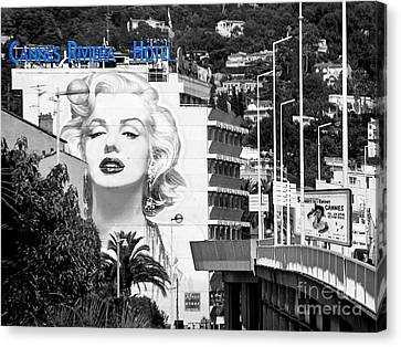 Canvas Print featuring the photograph Marilyn In Cannes by Jennie Breeze