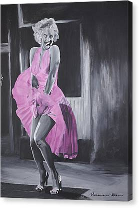 Marilyn In Pink Canvas Print by Genevieve Glenn