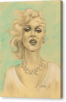 Marilyn In White Canvas Print by P J Lewis