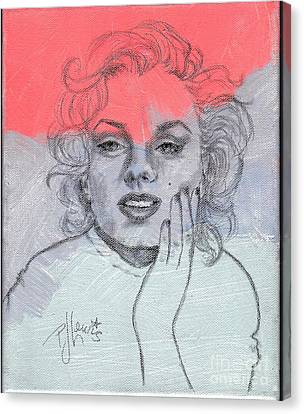 Face Canvas Print - Marilyn Loved Color by PJ Lewis