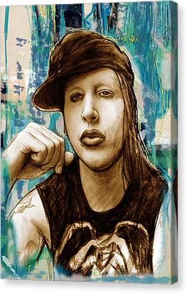 Marilyn Manson Stylised Pop Art Drawing Potrait Poser Stylised Pop Art Drawing Potrait Poser Canvas Print by Kim Wang