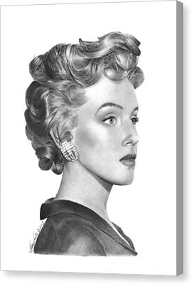Canvas Print featuring the drawing Marilyn Monroe - 014 by Abbey Noelle