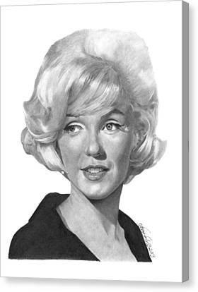 Canvas Print featuring the drawing Marilyn Monroe - 015 by Abbey Noelle