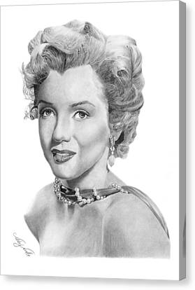 Canvas Print featuring the drawing Marilyn Monroe - 016 by Abbey Noelle