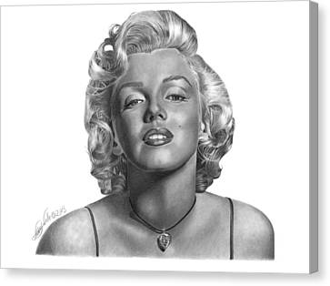 Canvas Print featuring the drawing Marilyn Monroe - 018 by Abbey Noelle