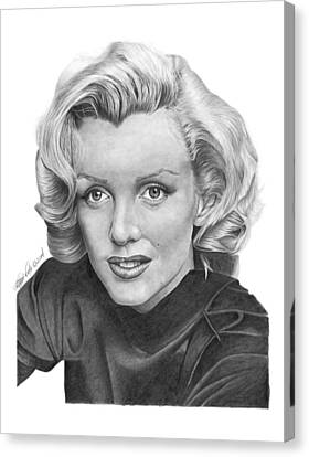 Canvas Print featuring the drawing Marilyn Monroe - 025 by Abbey Noelle