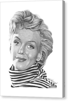 Canvas Print featuring the drawing Marilyn Monroe - 029 by Abbey Noelle
