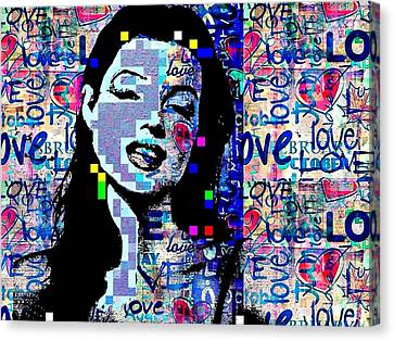 Marilyn Monroe Actress Legend Icon Hollywood Sex Symbol Movie Star Digital Canvas Print - Marilyn Monroe 3 Loved.lost.loved Again by Saundra Myles