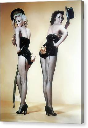 Playboy Bunny Canvas Print - Marilyn Monroe And Jane Russell by Daniel Hagerman