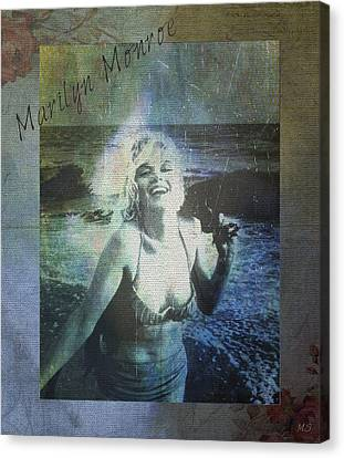 Marilyn Monroe At The Beach Canvas Print by Absinthe Art By Michelle LeAnn Scott