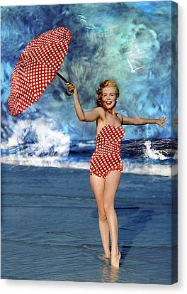 Marilyn Monroe - On The Beach Canvas Print by EricaMaxine  Price