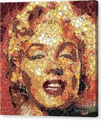 Marilyn Monroe Canvas Print - Marilyn Monroe On The Way Of Arcimboldo by Dragica  Micki Fortuna