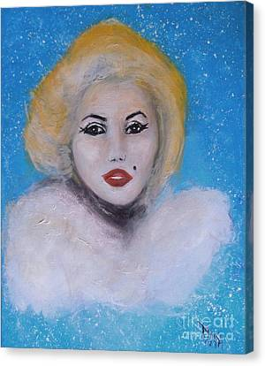 Canvas Print featuring the painting Marilyn Monroe Out Of The Blue Into The White by Donna Dixon
