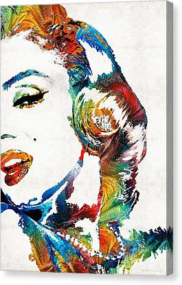 Canvas Print featuring the painting Marilyn Monroe Painting - Bombshell - By Sharon Cummings by Sharon Cummings