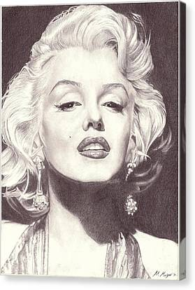 Marilyn Monroe Portrait Drawing Canvas Print by Matt Meyer