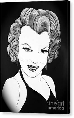 Marilyn Monroe- Scratch Bd Canvas Print by Linda Simon