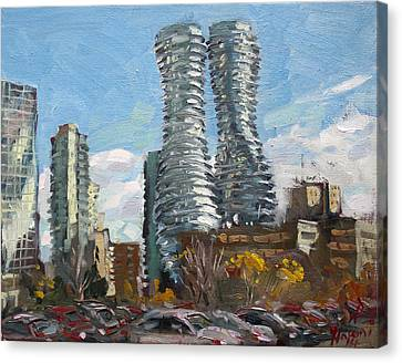 Marilyn Monroe Towers In Mississauga Canvas Print by Ylli Haruni