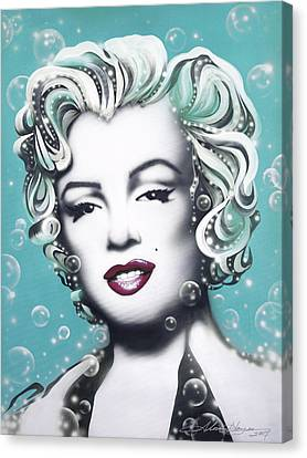 Silver Turquoise Canvas Print - Marilyn Monroe Turquoise by Alicia Hayes