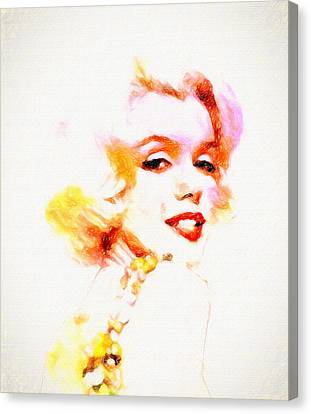 Marilyn The Pink Sketch Canvas Print by John Farr