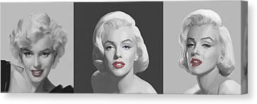 Marilyn Trio Red Lips Blue Eyes Canvas Print
