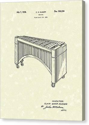 Marimba 1936 Patent Art Canvas Print by Prior Art Design