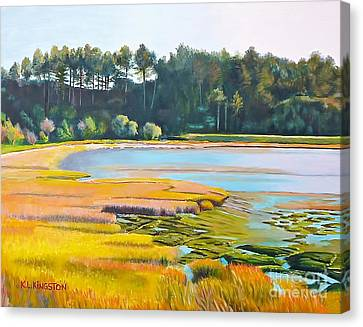 Canvas Print featuring the painting Marin County Marsh by K L Kingston