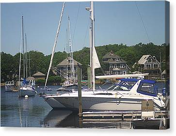 Canvas Print featuring the photograph Marina At Woods Hole Ma by Suzanne Powers