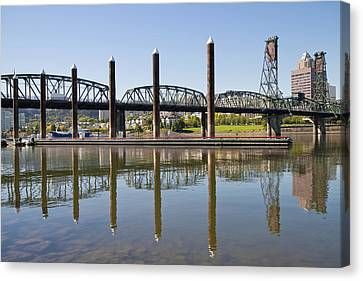 Canvas Print featuring the photograph Marina By Willamette River In Portland Oregon by JPLDesigns