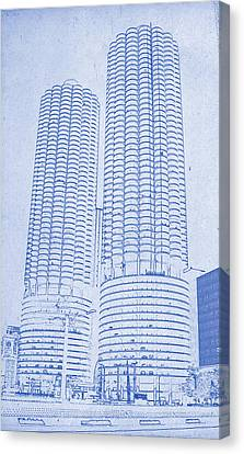 Marina City From Across The River Chicago Illinois Blueprint Canvas Print by MotionAge Designs