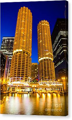 Marina City Towers At Night  Picture Canvas Print by Paul Velgos
