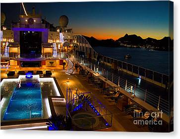 Marina Cruise Ship Pool Deck At Dusk Canvas Print by David Smith