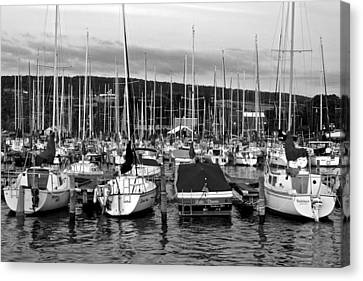 Marina In Black And White Canvas Print by Frozen in Time Fine Art Photography