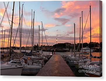 Marina In Desenzano Del Garda Sunrise Canvas Print by Kiril Stanchev