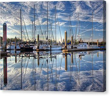 Marina Morning Reflections Canvas Print by Farol Tomson
