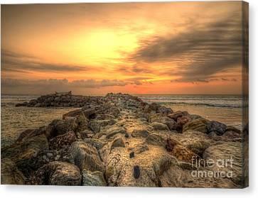 Marina Park Beach Sunset Canvas Print by Eddie Yerkish