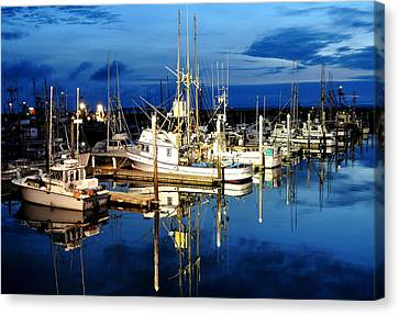 Marina Reflection Canvas Print by Michael Bruce