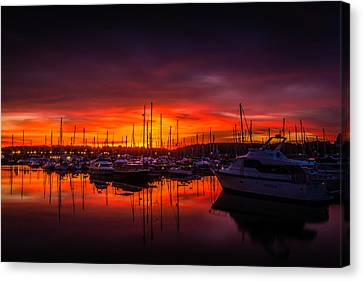 Marina Sunset Canvas Print by Dawn OConnor