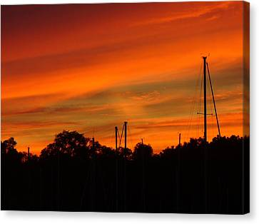 Canvas Print featuring the photograph Marina Sunset by Deena Stoddard