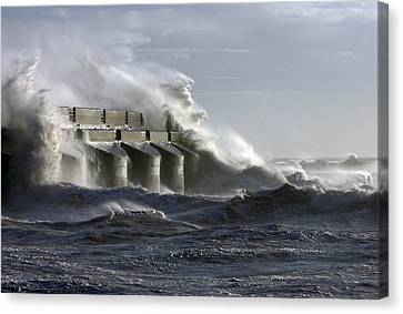 Marina Waves Canvas Print by Barry Goble