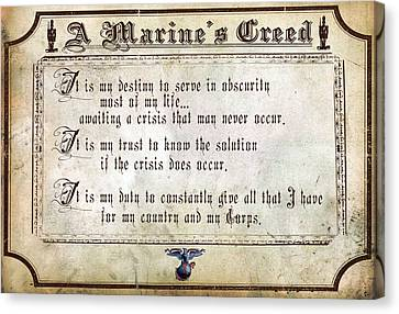 Recruiting Canvas Print - Marine Creed by Annette Redman