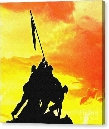 Marine Iwo Jima Memorial Dc Canvas Print by Bob and Nadine Johnston