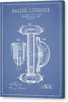 Lifebelt Canvas Print - Marine Lifebuoy Patent From 1894 - Light Blue by Aged Pixel