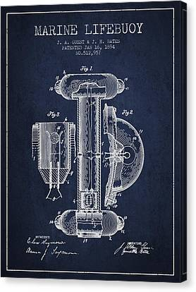 Lifebelt Canvas Print - Marine Lifebuoy Patent From 1894 - Navy Blue by Aged Pixel