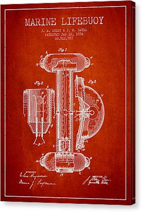 Lifebelt Canvas Print - Marine Lifebuoy Patent From 1894 - Red by Aged Pixel