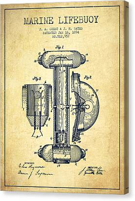Lifebelt Canvas Print - Marine Lifebuoy Patent From 1894 - Vintage by Aged Pixel